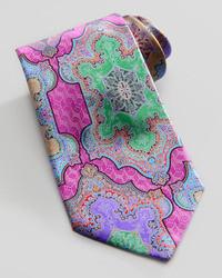 Ermenegildo Zegna Quindici Moroccan Print Silk Tie Fuchsia