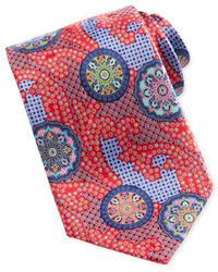 Ermenegildo Zegna Quindici Patchwork Circle Silk Tie Red