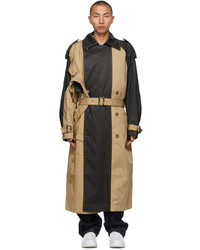 Feng Chen Wang Beige Grey Paneled Trench Coat