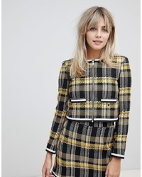 ASOS DESIGN Yellow Check Boucle Cropped Suit Blazer With Chain Detail
