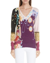 Etro Paisley Floral Stretch Silk Sweater