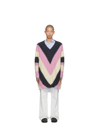 Loewe Pink And Grey V Neck Sweater