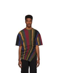 Diesel Red Tag Green And Multicolor Glenn Martens Edition Stripe Pique T Shirt