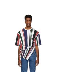 Diesel Red Tag Multicolor Glenn Martens Edition Striped Pique T Shirt