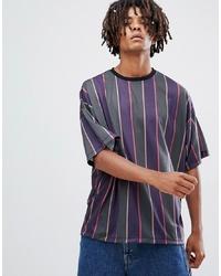 ASOS DESIGN Oversized T Shirt With Vertical Retro Stripe