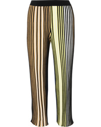 Kenzo Cropped Striped Ribbed Knit Flared Pants