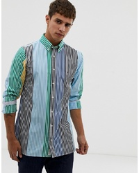 Tommy Hilfiger Block Colour Stripe Shirt Slim Fit In Blue