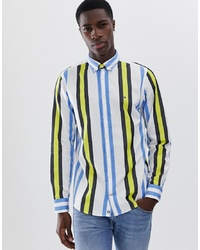 Tommy Hilfiger Limited Block Stripe Icon Logo Shirt Regular Fit In Bluemulti