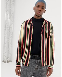 Collusion Long Sleeve Shirt With Revere Collar In Stripe