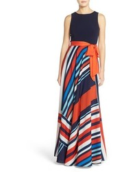 Eliza J Petite Jersey Stripe Maxi Dress