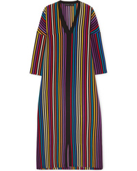 Etro Striped Silk De Chine Midi Dress