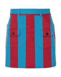 Prada Striped Denim Mini Skirt