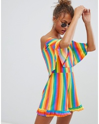 Daisy Street Playsuit With Bardot Frill In Stripe