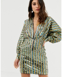 ASOS DESIGN Stripe Embellished Sequin Batwing Kimono Mini Dress