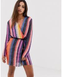 Club L London Club L Wrap Striped Sequin Mini Dress