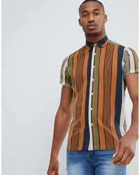 Multi colored Vertical Striped Short Sleeve Shirt