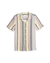Topman Pastel Stripe Short Sleeve Button Up Shirt