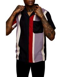 Topman Vertical Stripe Button Up Short Sleeve Shirt