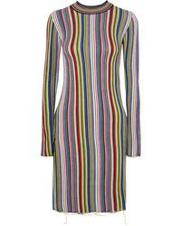MARQUES ALMEIDA Striped Crocheted Merino Wool Mini Dress