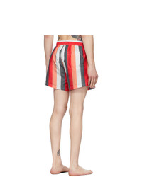BOSS Red And White Striped Swim Shorts