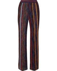 Missoni Striped Metallic Crochet Knit Wide Leg Pants