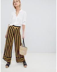 ASOS DESIGN Tailored Bumblebee Stripe Soft Wide Leg