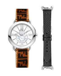 Fendi Selleria Leather Band Watch