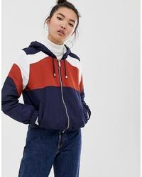 New Look Fleece Lined Zip Up Jacket In Rust And Navy
