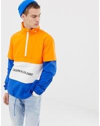 Calvin Klein Jeans Institutional Logo Overhead Jacket In Blueorange