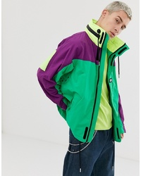 Diesel J Futoshi Neon Colour Block Jacket In Multi With Concealed Hood