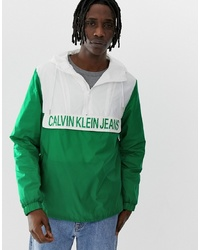 Calvin Klein Jeans Colour Block Logo Overhead Nylon Jacket In Greenwhite
