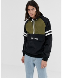 YOURTURN Overhead Windbreaker Jacket With Colour Block In Black