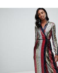 Asos Tall Asos Design Tall Stripe Wrap Midi Dress