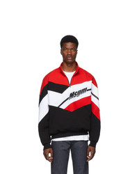 MSGM Black And Red Half Zip Track Pullover