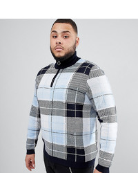 ASOS DESIGN Plus Knitted Turtle Neck Check Jumper With Zip In Blue