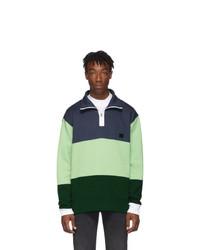 Acne Studios Blue And Green Flint Flag Face Zip Sweatshirt