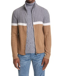 Eleventy Rib Colorblock Zip Merino Wool Cardigan