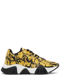 Versace Black Yellow Barocco Squalo Sneakers