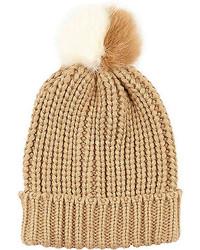 River Island Beige Knitted Pom Pom Beanie Hat