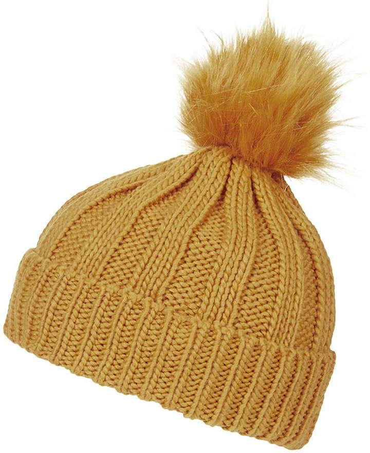 ... Mustard Beanies Topshop Faux Fur Pom Beanie Hat ... 50409d9538e