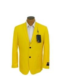 Ferrecci solid bright yellow sport coat jacket blazer medium 245061