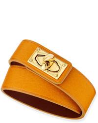 Givenchy Calfskin Leather Wrap Bracelet Mustard