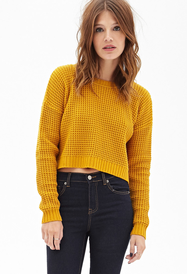 Forever 21 Cropped Waffle Knit Sweater | Where to buy & how to wear