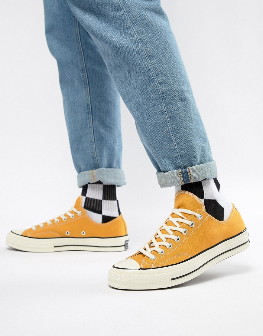 a1295378df0a14 ... Mustard Canvas Low Top Sneakers Converse Chuck Taylor 70 Ox Trainers In  Yellow 162063c