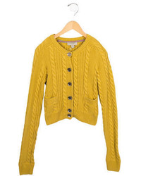 Burberry Girls Cable Knit Button Up Cardigan