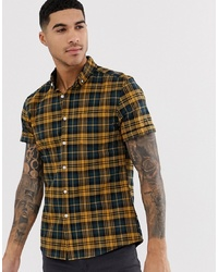 ASOS DESIGN Stretch Slim Check Shirt In Mustard