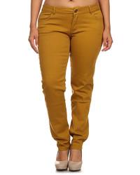 Mustard five pocket skinny pants plus too medium 3666952