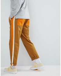 ASOS DESIGN Relaxed Cropped Trousers In Tan With Double