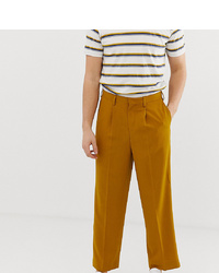 Noak Slim Fit Smart Trousers In Textured Mustard