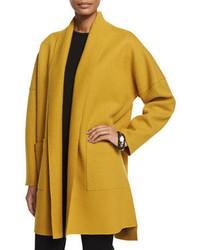 Eileen Fisher Boiled Wool Kimono Coat Mustard Petite